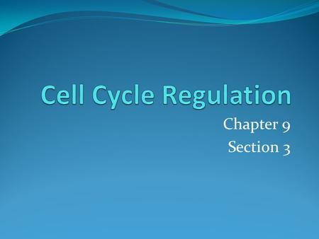 Cell Cycle Regulation Chapter 9 Section 3.
