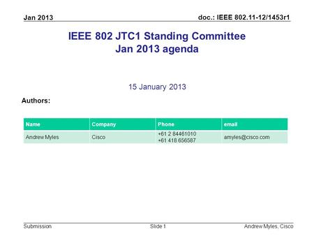 Doc.: IEEE 802.11-12/1453r1 Submission Jan 2013 Andrew Myles, CiscoSlide 1 IEEE 802 JTC1 Standing Committee Jan 2013 agenda 15 January 2013 Authors: NameCompanyPhoneemail.