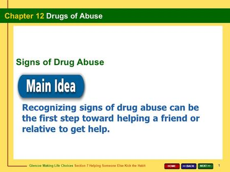 Glencoe Making Life Choices Section 7 Helping Someone Else Kick the Habit Chapter 12 Drugs of Abuse 1 << BACK NEXT >> HOME Recognizing signs of drug abuse.