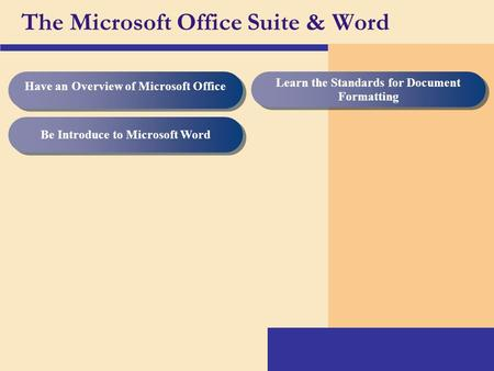 The Microsoft Office Suite & Word Be Introduce <strong>to</strong> Microsoft Word Learn the Standards for Document Formatting Have an Overview of Microsoft Office.
