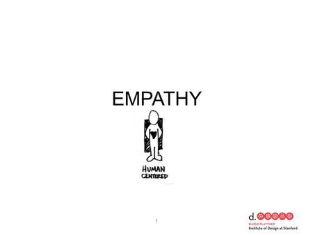 EMPATHY 1. DEFINE PROTOTYPE IDEATE UNDERSTAND TEST OBSERVE IMPLEMENT 2 EMPATHY.