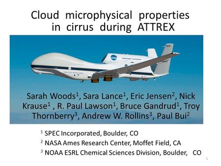 1 Cloud microphysical properties in cirrus during ATTREX Sarah Woods 1, Sara Lance 1, Eric Jensen 2, Nick Krause 1, R. Paul Lawson 1, Bruce Gandrud 1,