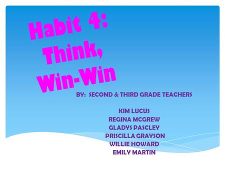 Habit 4: Think, Win-Win BY: SECOND & THIRD GRADE TEACHERS KIM LUCUS REGINA MCGREW GLADYS PASCLEY PRISCILLA GRAYSON WILLIE HOWARD EMILY MARTIN.