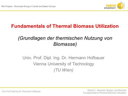 MSc Program - Renewable Energy in Central and Eastern Europe Univ.Prof.Dipl.Ing.Dr. Hermann Hofbauer Modul 2 - Biomass, Biogas, and Biofuels Fundamentals.