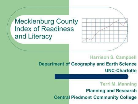 Mecklenburg County Index of Readiness and Literacy Harrison S. Campbell Department of Geography and Earth Science UNC-Charlotte Terri M. Manning Planning.