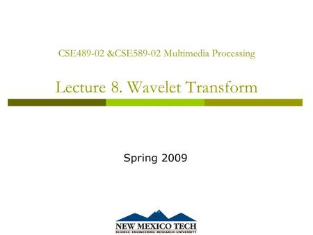 CSE489-02 &CSE589-02 Multimedia Processing Lecture 8. Wavelet Transform Spring 2009.