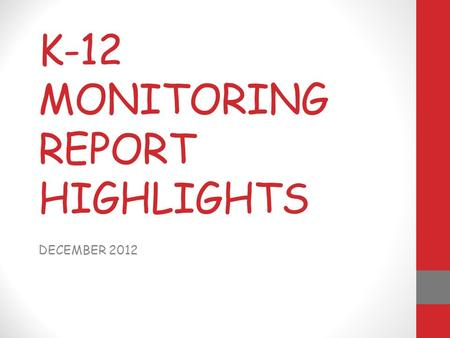 K-12 MONITORING REPORT HIGHLIGHTS DECEMBER 2012. ELEMENTARY NOTES  ELA & MATH NEW COMMON CORE FULLY IMPLEMENTED  HIGHER LEVEL THINKING SKILLS  EVIDENCE.