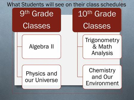 9 th Grade Classes Algebra II Physics and our Universe 10 th Grade Classes Trigonometry & Math Analysis Chemistry and Our Environment What Students will.