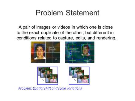 Problem Statement A pair of images or videos in which one is close to the exact duplicate of the other, but different in conditions related to capture,