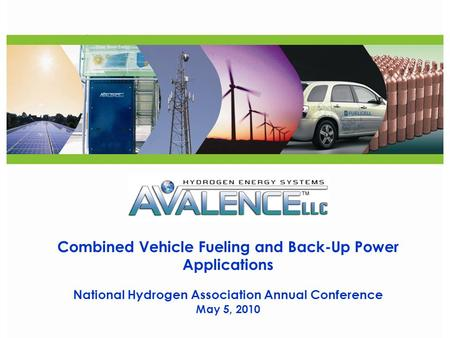 CONFIDENTIAL Combined Vehicle Fueling and Back-Up Power Applications National Hydrogen Association Annual Conference May 5, 2010.