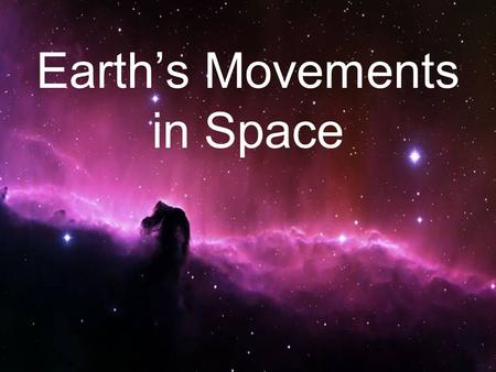 Earth's Movements in Space. OK, we already know that at the very beginning there was a huge explosion called the Big Bang. It created everything there.