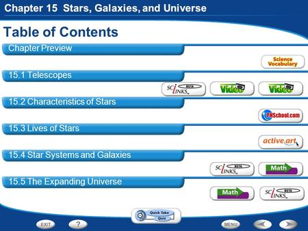 Chapter 15 Stars, Galaxies, and Universe Table of Contents Chapter 15 Stars, Galaxies, and Universe Chapter Preview 15.1 Telescopes 15.2 Characteristics.