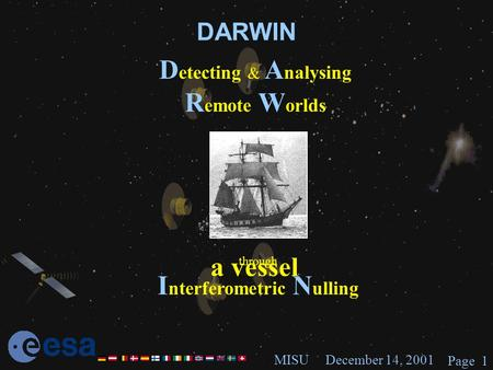 December 14, 2001MISU Page 1 DARWIN D etecting & A nalysing R emote W orlds through I nterferometric N ulling a vessel.
