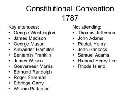 Constitutional Convention 1787 Key attendees: George Washington James Madison George Mason Alexander Hamilton Benjamin Franklin James Wilson Gouverneur.