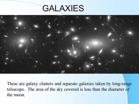 GALAXIES These are galaxy clusters and separate galaxies taken by long-range telescope. The area of the sky covered is less than the diameter of the moon.