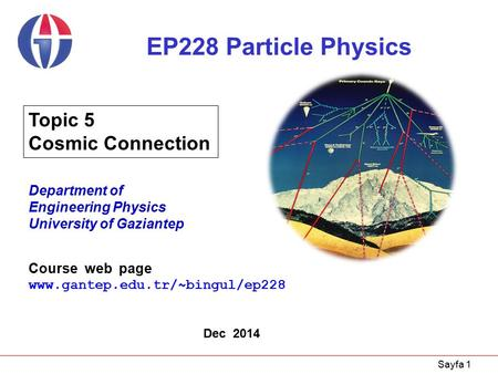 Sayfa 1 EP228 Particle Physics Department of Engineering Physics University of Gaziantep Dec 2014 Topic 5 Cosmic Connection Course web page www.gantep.edu.tr/~bingul/ep228.