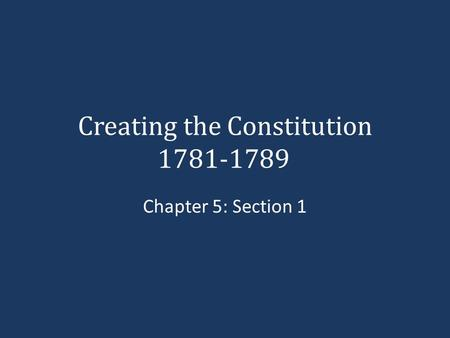Creating the Constitution 1781-1789 Chapter 5: Section 1.