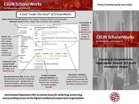 CSUN ScholarWorks for instruction and research CSUN ScholarWorks for instruction and research Institutional Repository (IR): an online locus for collecting,