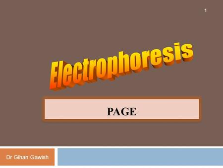 Dr Gihan Gawish 1 PAGE. Types of Gels Dr Gihan Gawish The most common types of gels are:  Starch gels: seldom used nowadays  Agarose gels: for separation.