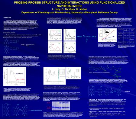 PROBING PROTEIN STRUCTURE AND INTERACTIONS USING FUNCTIONALIZED NAPHTHALIMIDES L. Kelly, B. Abraham, M. Mullan Department of Chemistry and Biochemistry,