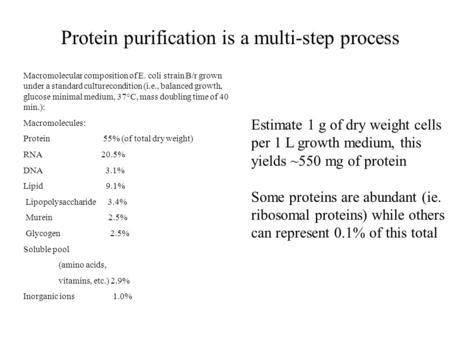 Protein purification is a multi-step process Macromolecular composition of E. coli strain B/r grown under a standard culturecondition (i.e., balanced growth,