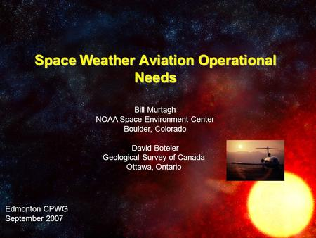 Space Weather Aviation Operational Needs