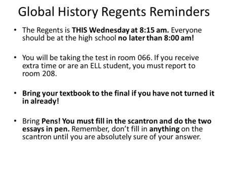Tricks to passing the NYS Global Regents?