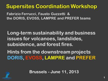 1 Long-term sustainability and business issues for volcanoes, landslides, subsidence, and forest fires. Hints from the downstream projects DORIS, EVOSS,