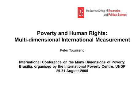 Poverty and Human Rights: Multi-dimensional International Measurement