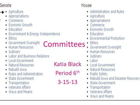 Committees Katia Black Period 6 th 3-15-13. House standing Committees Agriculture Transportation and infrastructure Education and the workforce Resources.