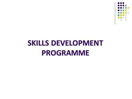 SKILLS DEVELOPMENT PROGRAMME. Employment and Higher Education Opportunities for School Leavers Info: Ministry of Education.
