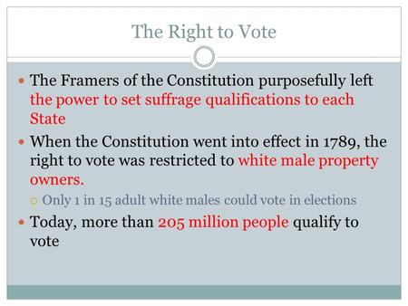 The Right to Vote The Framers of the Constitution purposefully left the power to set suffrage qualifications to each State When the Constitution went into.