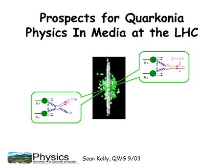 Sean Kelly, QWG 9/03 Prospects for Quarkonia Physics In Media at the LHC.