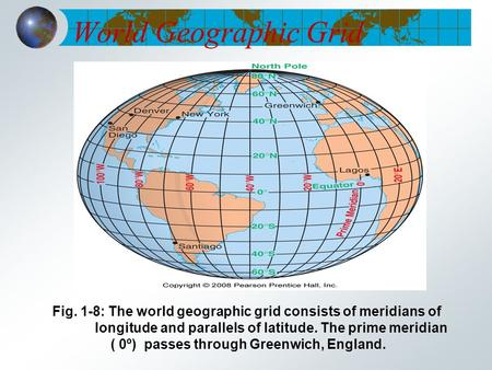 World Geographic Grid Fig. 1-8: The world geographic grid consists of meridians of longitude and parallels of latitude. The prime meridian ( 0º) passes.