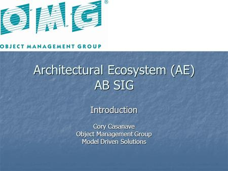 Architectural Ecosystem (AE) AB SIG Introduction Cory Casanave Object Management Group Model Driven Solutions.