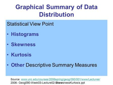 Graphical Summary of Data Distribution Statistical View Point Histograms Skewness Kurtosis Other Descriptive Summary Measures Source: www.unc.edu/courses/2006spring/geog/090/001/www/Lectures/