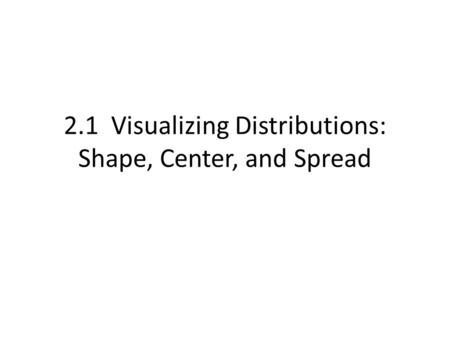 2.1 Visualizing Distributions: Shape, Center, and Spread.