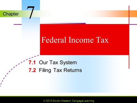Chapter © 2010 South-Western, Cengage Learning Federal Income Tax 7.1 7.1Our Tax System 7.2 7.2Filing Tax Returns 7.