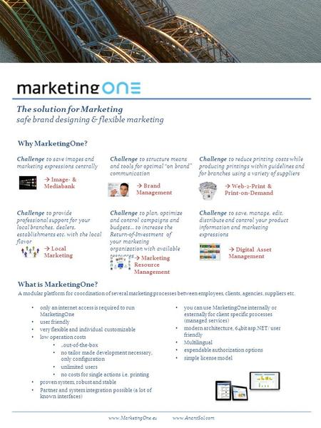 The solution for Marketing safe brand designing & flexible marketing Why MarketingOne? What is MarketingOne? A modular platform for coordination of several.