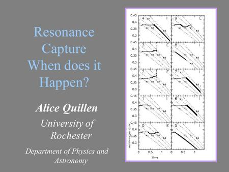 Resonance Capture When does it Happen? Alice Quillen University of Rochester Department of Physics and Astronomy.