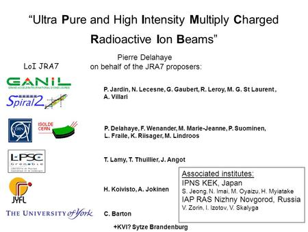 """Ultra Pure and High Intensity Multiply Charged Radioactive Ion Beams"" Associated institutes: IPNS KEK, Japan S. Jeong, N. Imai, M. Oyaizu, H. Myiatake."