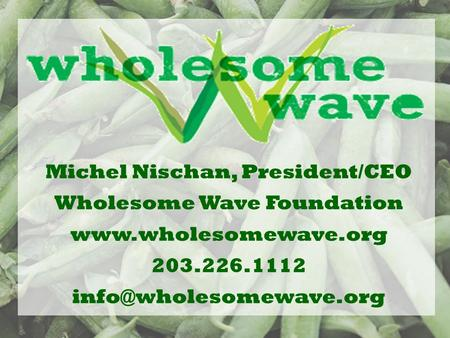 Michel Nischan, President/CEO Wholesome Wave Foundation  203.226.1112