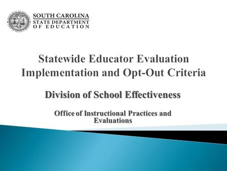 Division of School Effectiveness Office of Instructional Practices and Evaluations.