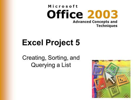 Office 2003 Advanced Concepts and Techniques M i c r o s o f t Excel Project 5 Creating, Sorting, and Querying a List.