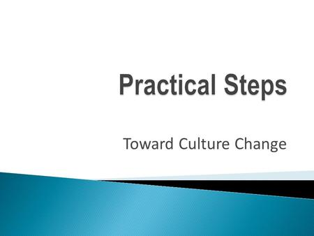 Toward Culture Change.  Agree to take this issue on as a priority  Create a Team/Work Group to develop a Restraint/Seclusion Action Plan  Formulate.