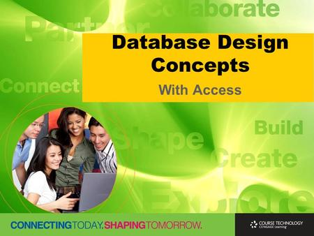 Database Design Concepts With Access. Learning Outcomes  Identify and define the information that is needed to design a database  Create conceptual.