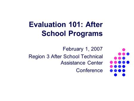 Evaluation 101: After School Programs February 1, 2007 Region 3 After School Technical Assistance Center Conference.