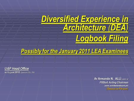 Diversified Experience in Architecture (DEA) Logbook Filing
