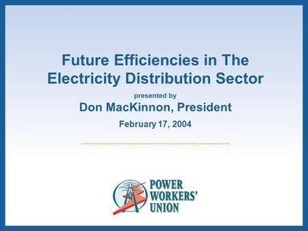 Future Efficiencies in The Electricity Distribution Sector presented by Don MacKinnon, President February 17, 2004.