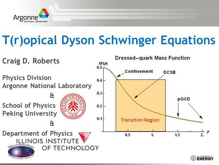 T(r)opical Dyson Schwinger Equations Craig D. Roberts Physics Division Argonne National Laboratory & School of Physics Peking University & Department of.